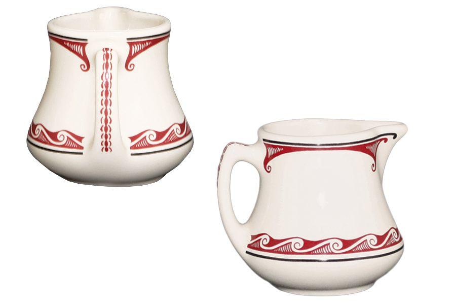 White Maroon Ceramic Creamer Mimbreno Coors Creamer Old