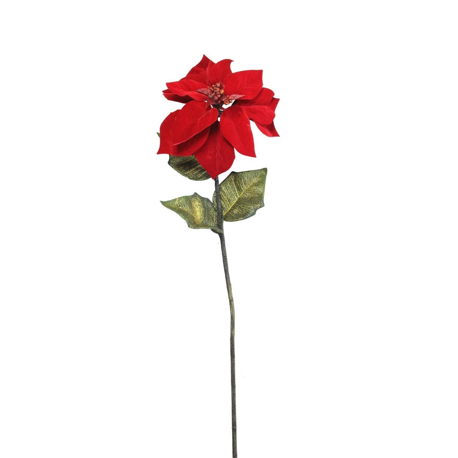 28 Decorative Candy Apple Red Artificial Poinsettia Stem