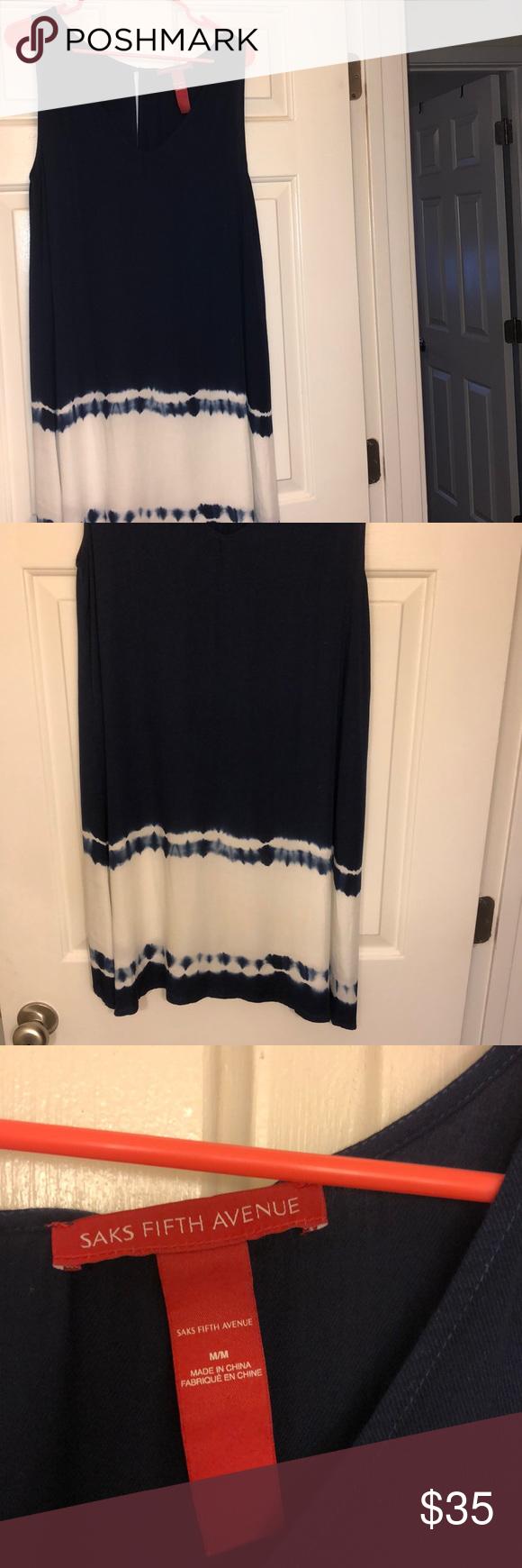 Saks Fifth Avenue Blue Dress With Tie Dye Style Bottom Great