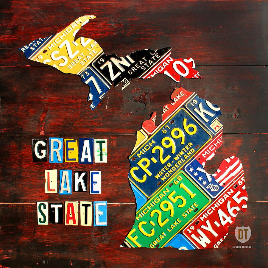 License Plate State Map.Michigan License Plate Map Mixed Media Pure Michigan Michigan