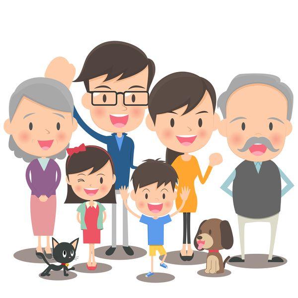 happy family cartoon illustration vector 05 | maksuton ...