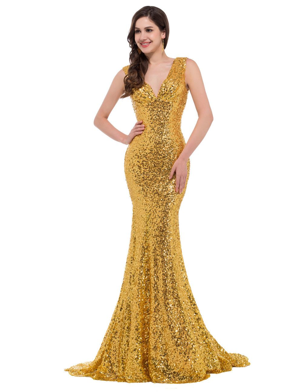 Grace karin mermaid evening dress deep v celebrity vestidos