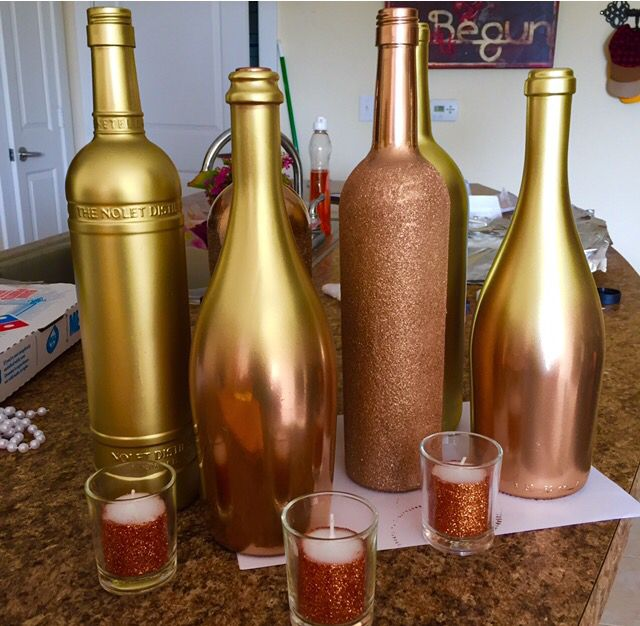 DIY Spray Painted Wine Bottles. (Ombre Effect Gold on Rose Gold).