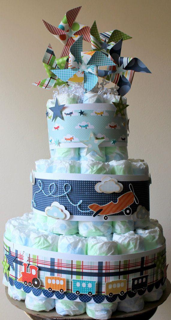 Diaper cake- pinwheels on top are so cute!