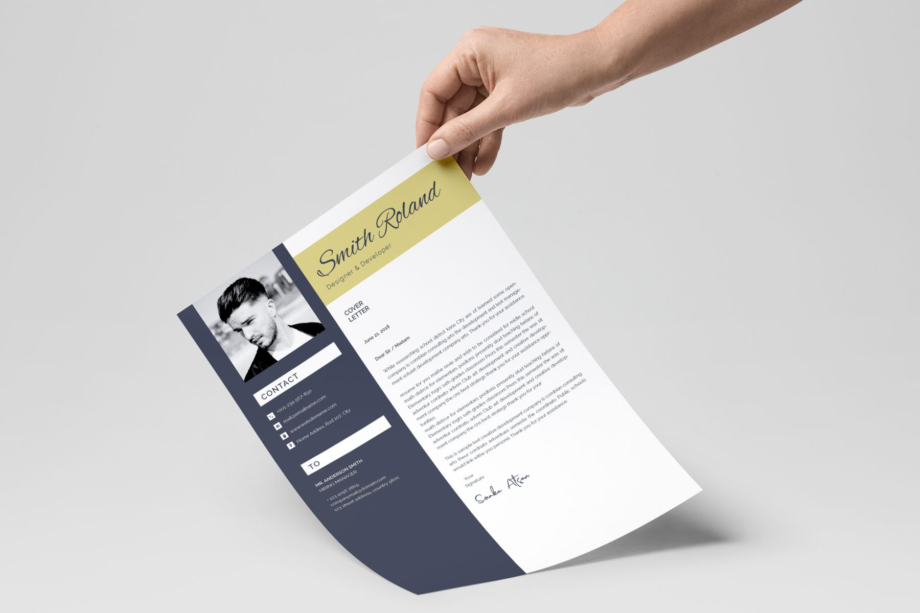 Smith Roland Resume Template Resume Template | Abstract 3d ...
