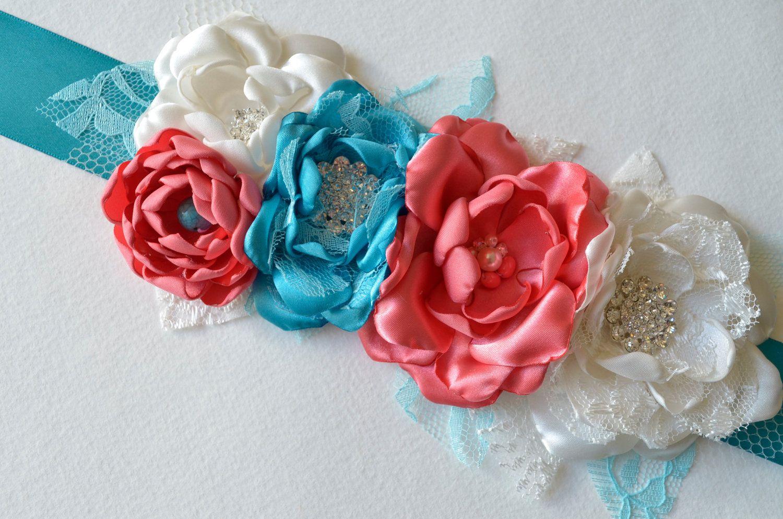 Teal Blue and Coral Pink Sash - Photography Prop, Maternity Sash ...
