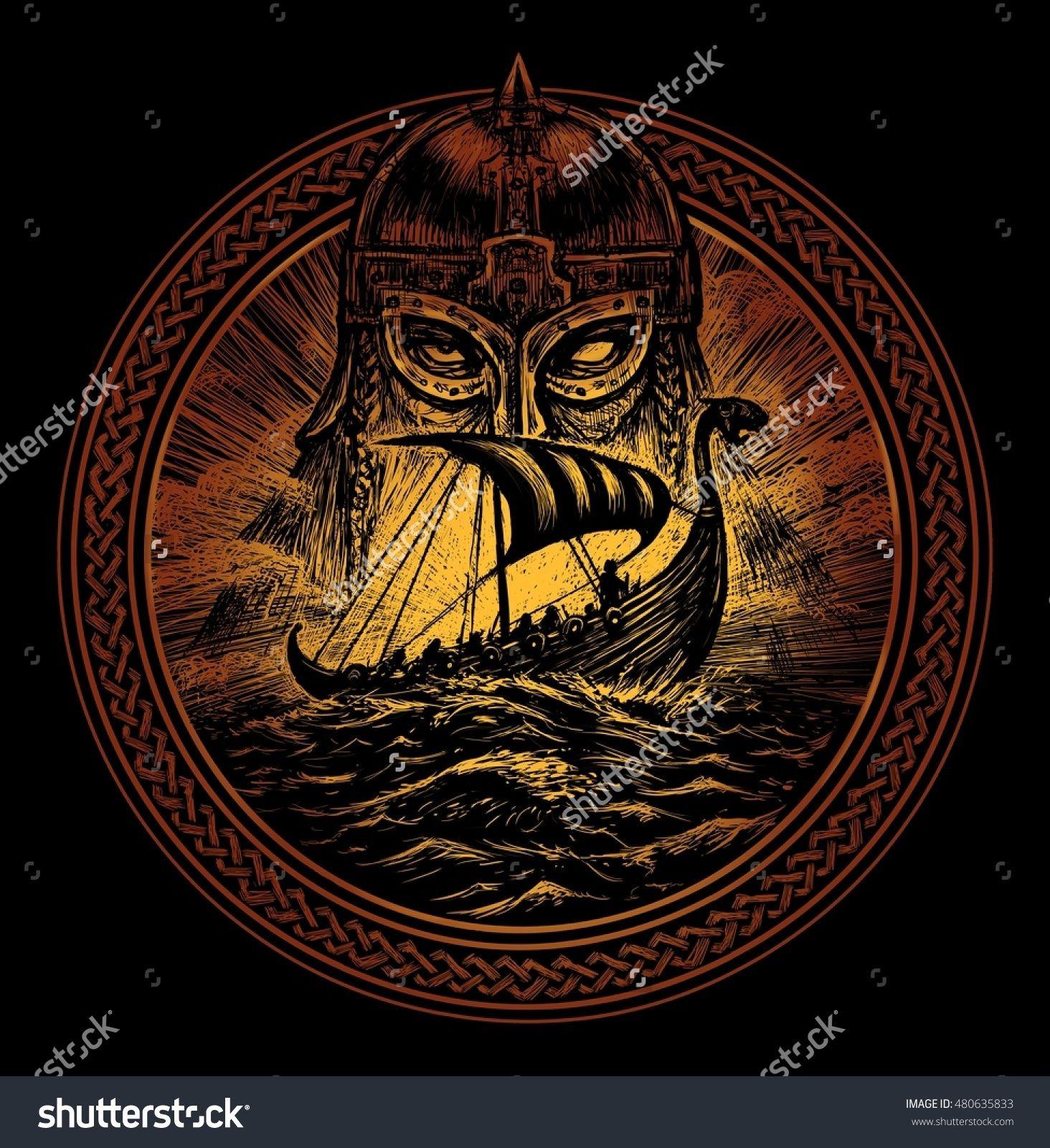 god odin storm sea and drakkar illustration of a circle viking emblem viking ship norse god. Black Bedroom Furniture Sets. Home Design Ideas