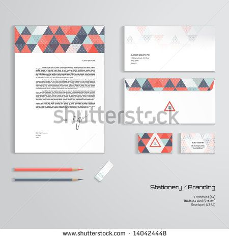 Vector corporate identity templates multicolored geometric pattern vector corporate identity templates multicolored geometric pattern and grid letterhead envelope business card pencils eraser reheart Choice Image