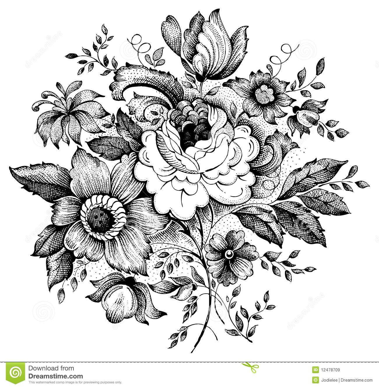Illustration Tattoos: Vintage Flower Vector Illustration