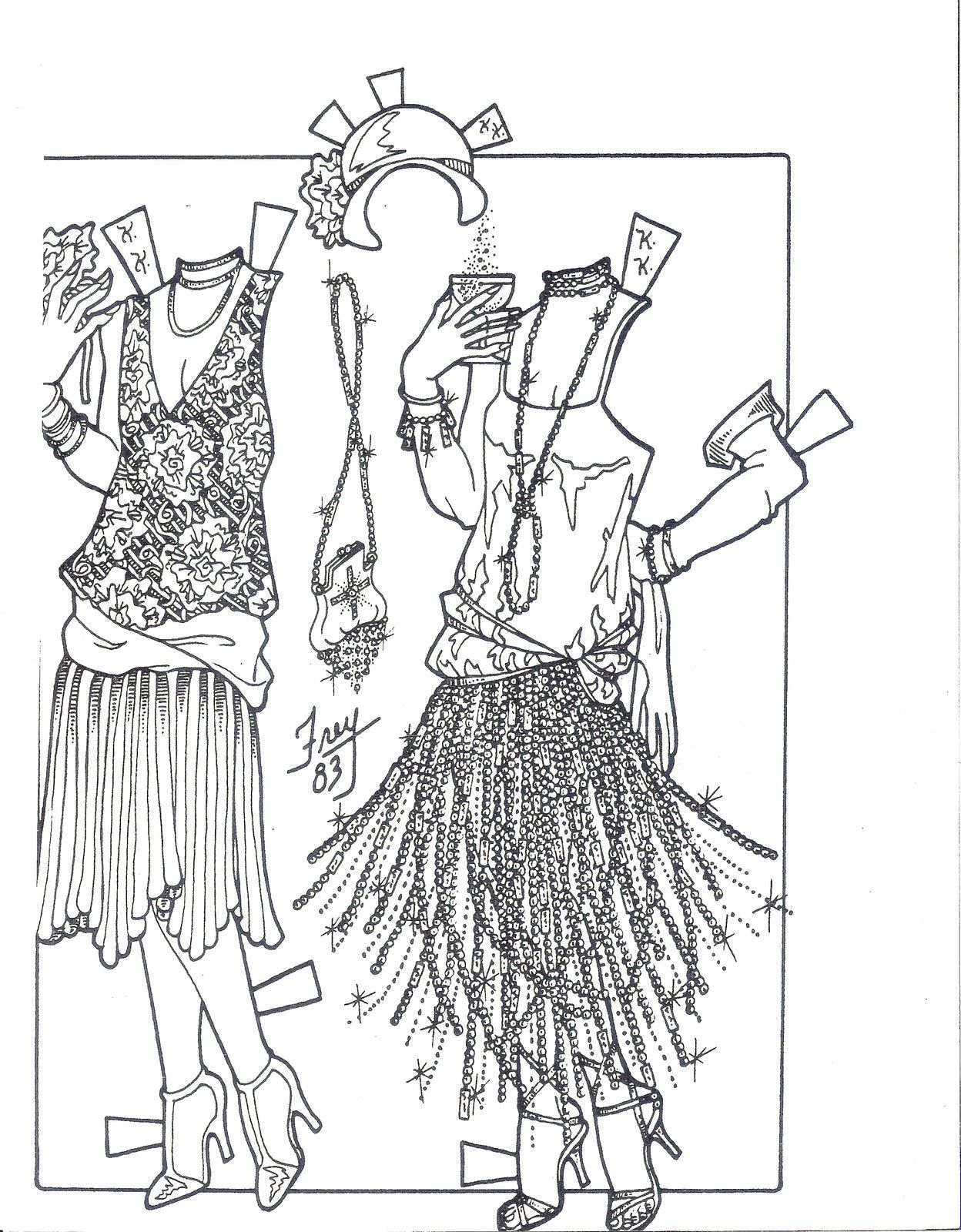 2 katy keene fashions of the 1920 u0026 39 s 1983 paper doll sheets