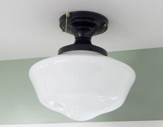 Large schoolhouse ceiling light black fixture with brass highlights large schoolhouse ceiling light black fixture with brass highlights and pull chain sold aloadofball Images