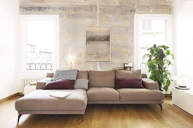 beige-ecksofa-wohnzimmer-holzboden-zimmerpflanze | Wohnideen ...