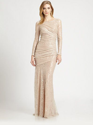 carmen marc valvo - sequined lace gown - saks | celebrations