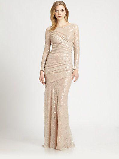 Carmen Marc Valvo Sequined Lace Cocktail Dress