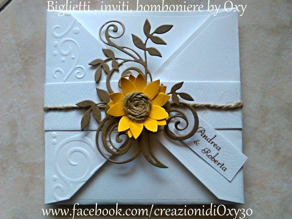 Partecipazioni Matrimonio Con Girasoli : Partecipazione matrimonio rustico girasole in 2019 wedding