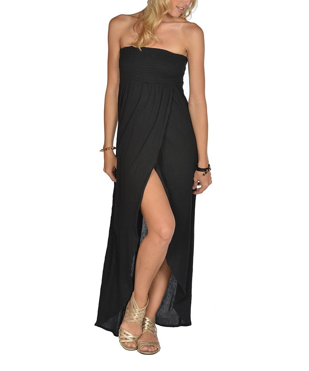 Black smocked strapless maxi dress zulily smocked maxi