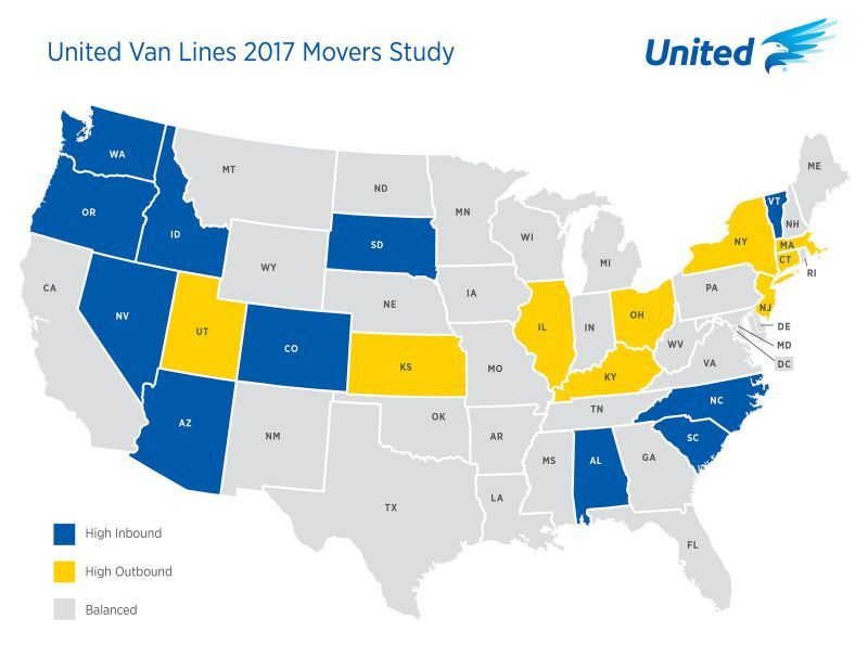 Americans continue to move west and south united van