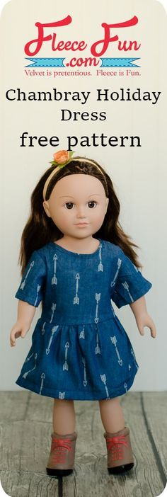 Chambray Party Dress for 18″ Doll Free Pattern | Puppen, Nähen und Kind