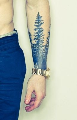 Stylish forearm tattoo. Fade from black into a tree. Awesome imagery and cool natural scene.
