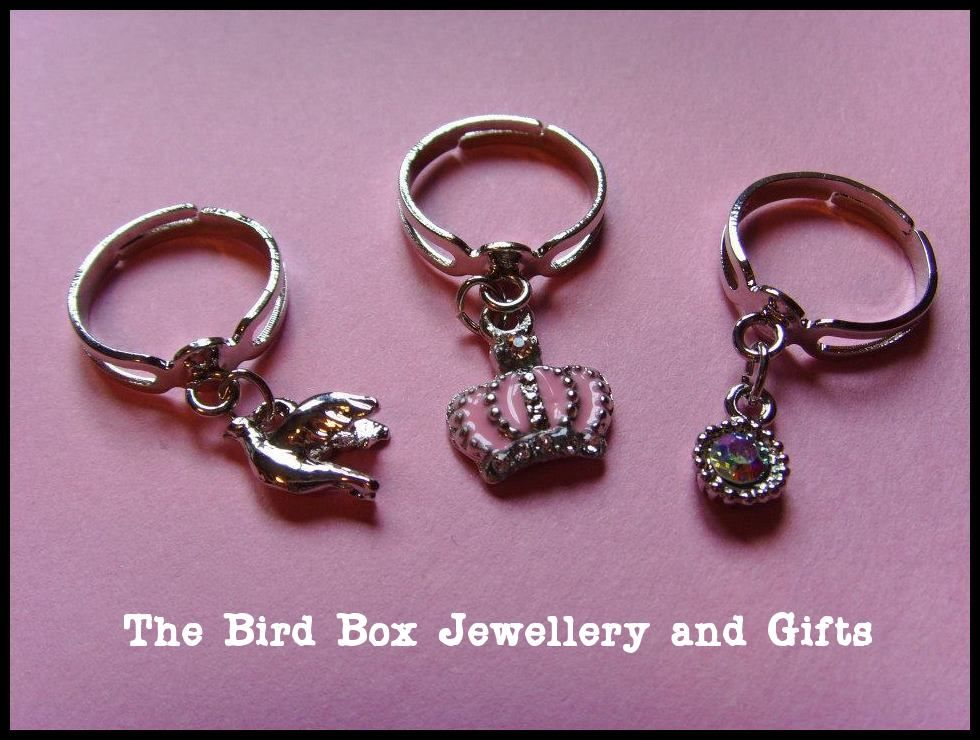 Mini charm rings.  Part of the Hello Kitty jewellery box that was made for  special little girls birthday xx