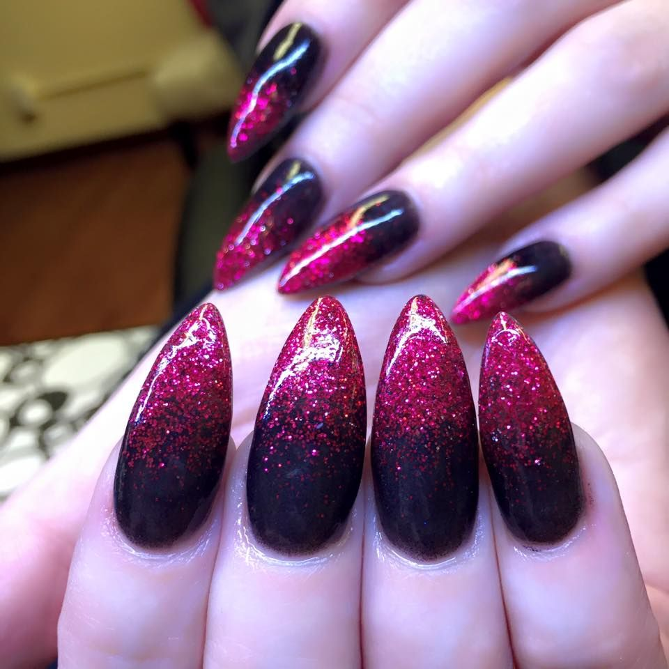 red glitter nails, ombre nails, stiletto shape nails, pointy nails ...