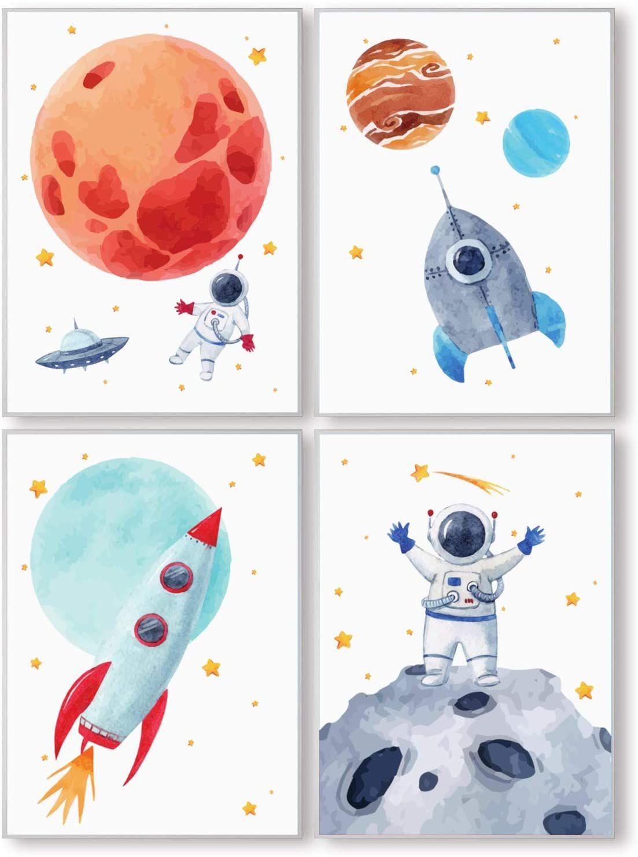 Kinderzimmer Bilder Fur Junge Und Madchen Weltraum Astronaut Planeten Deko In 2020 Kinder Wandbilder Kinder Zimmer Astronaut Kinderzimmer