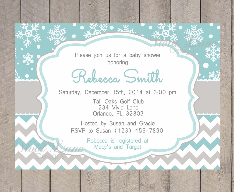 Winter Wonderland Baby Shower Invitations Templates Winter
