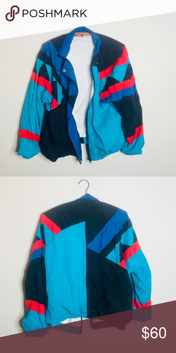 Vintage Retro 90 S Color Block Windbreaker Windbreaker Vintage Jacket Clothes Design