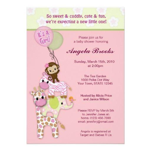 invitaciones animales de la fiesta de bienvenida invitación , x, Baby shower invitation