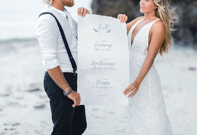 Serendipity Destination Wedding Inspiration // Strandhochzeit // Papeterie Gestaltung // Hochzeit Programm Ablaufplan // Hochzeitsdekoration, Floristik & Verleih