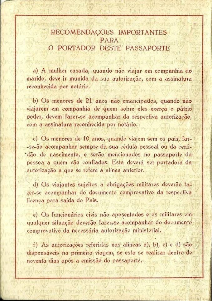Português passport (Women's rights detail) - 1956 // Collection Remains