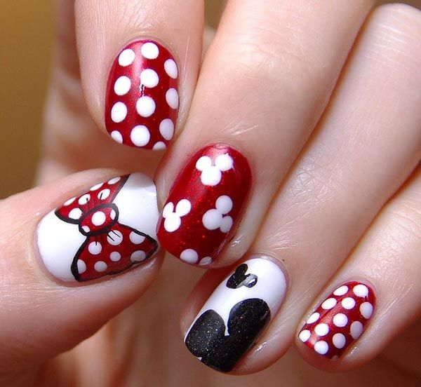 OP: 80 Classy Nail Art Designs for Short Nails - Lovely Cartoon Themed Nails For The Week Minnie Mouse Nails