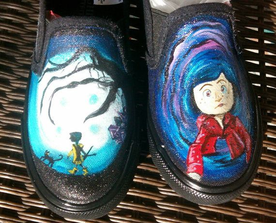 Coraline hand painted shoes by EllaLuBean on Etsy