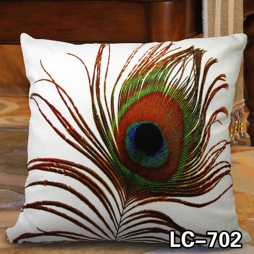 Elegant Decorative Throw Pillow Cover - Peacock Feather Design on Both Sides - Thick Soft Velvet Fabric\