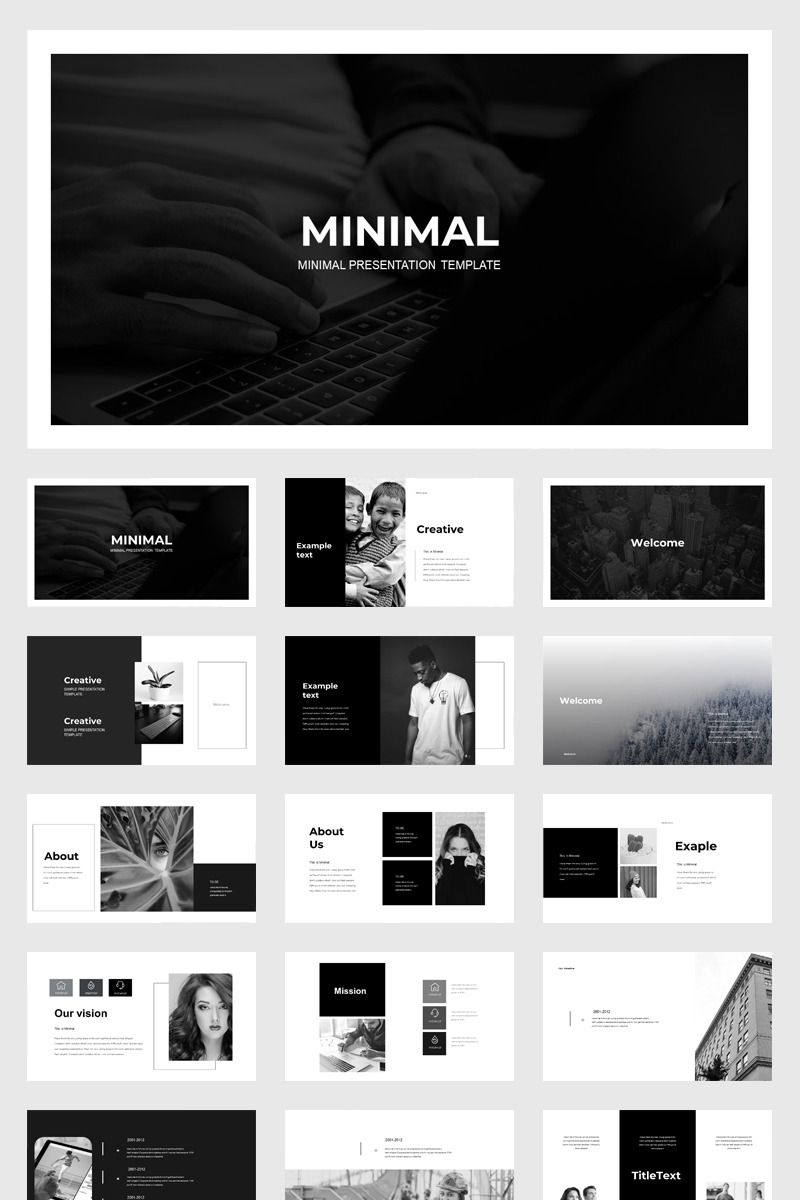 Black & White Presentation PowerPoint Template #79010