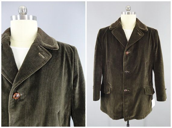 Vintage Men's Coat / Vintage Men's Corduroy Coat / 1970's Vintage SEARS The Country Coat Size 44 / XL