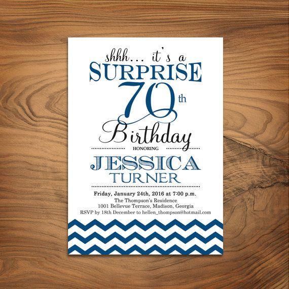 surprise 70th birthday invitation any age navy blue chevron