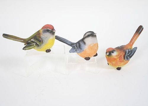 """Colorful resin spring birds 3 assorted colors per set 4.75""""L x 2""""W x 3.25""""H"""