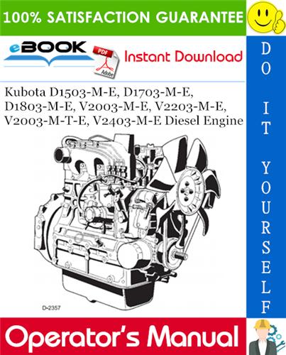 Kubota D1503 M E D1703 M E D1803 M E V2003 M E V2203 M E V2003 M T E V2403 M E Diesel Engine Operator S Manual Pdf Download Diesel Engine Kubota Diesel