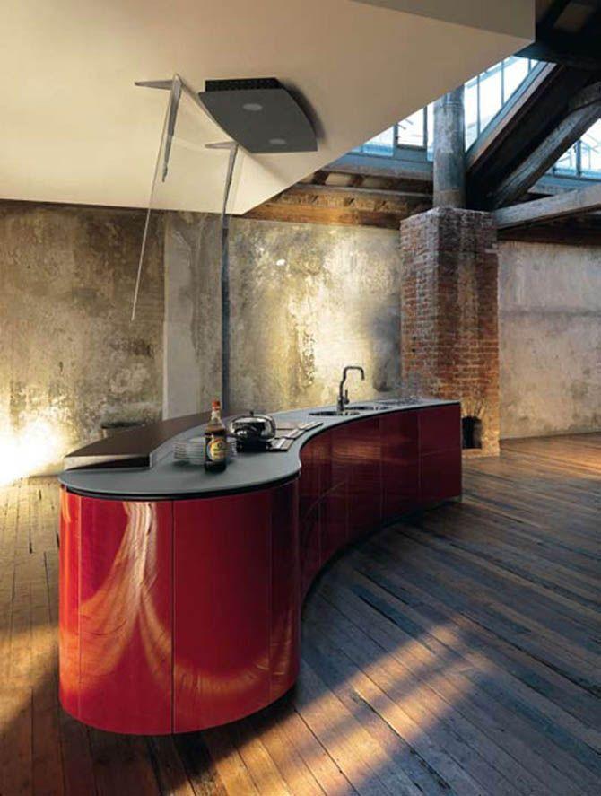 Muebles de cocina con diseños curvos