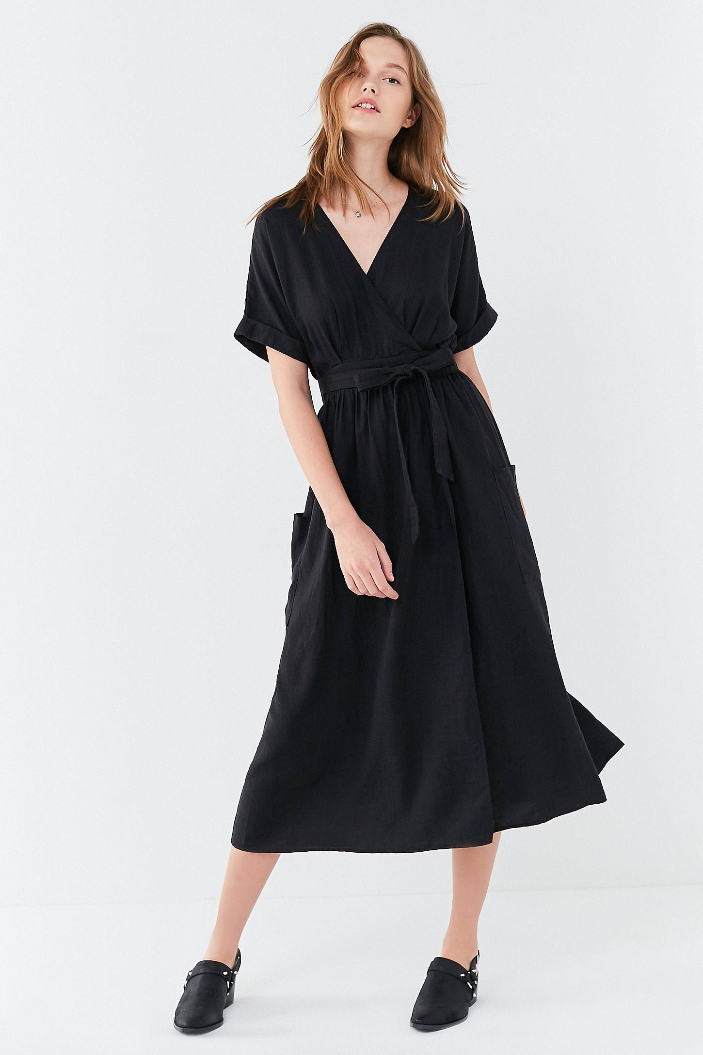 7e77347e81 Shop UO Gabrielle Linen Midi Wrap Dress at Urban Outfitters today. We carry  all the latest styles