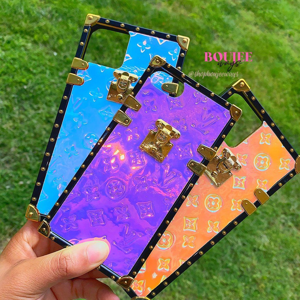 Glossy lv iridescent iphone cases pink phone cases