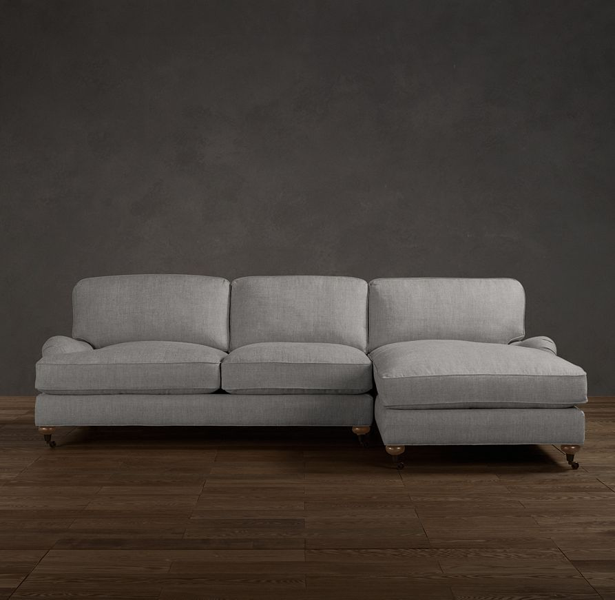 English roll arm upholstered rightarm sofa chaise