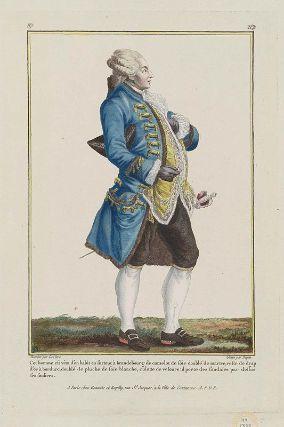 """""""Cet homme est vêtu d'un habit en surtout à brandenbourg de camelot de soie doublé de martre, veste de drap d'or à bordure, doublé de pluche de soie blanche, culotte de velours: il porte des sandales par dessus ses souliers"""", Gallerie des Modes, 1779; MFA 44.1387"""
