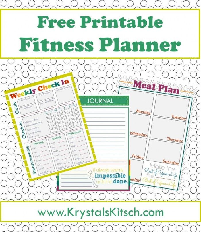 Free Fitness Journal + Meal Planning Printables Fitness journal