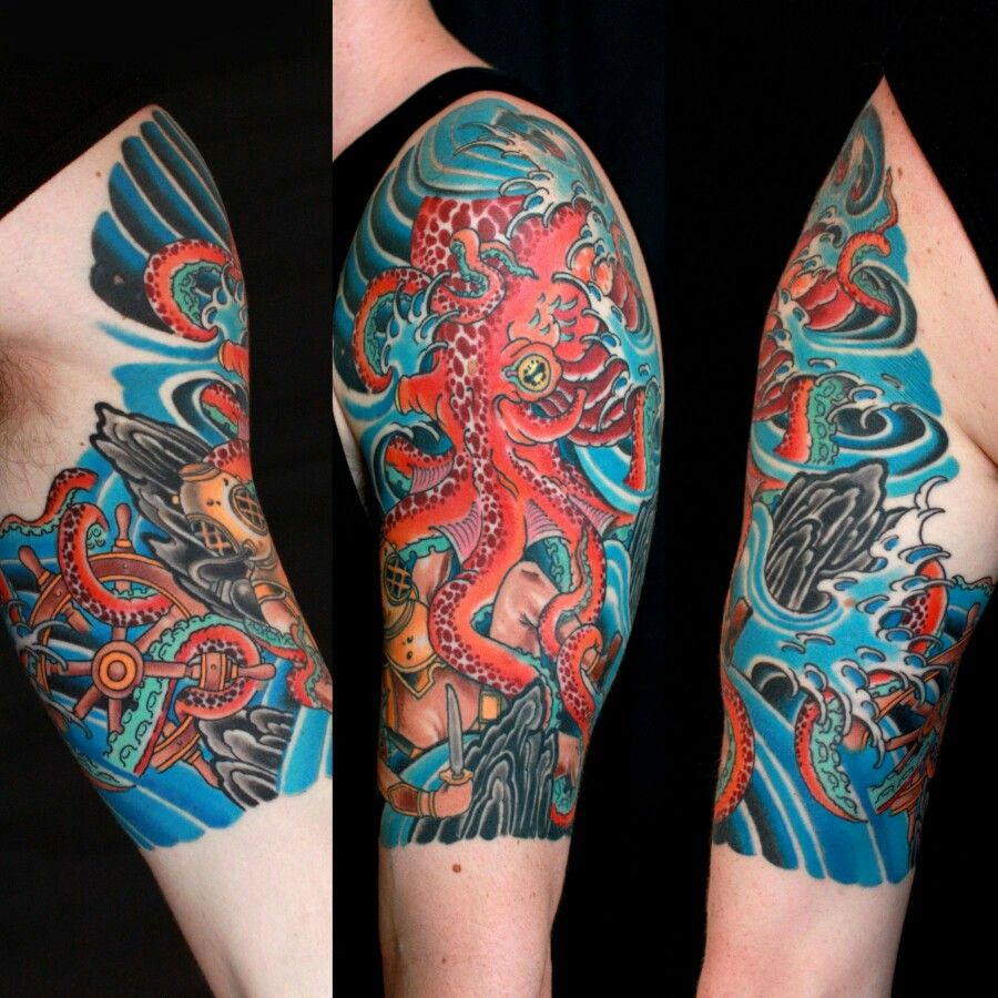 Japanese Octopus Tattoo And Amazing Color Work Octopus Tattoos