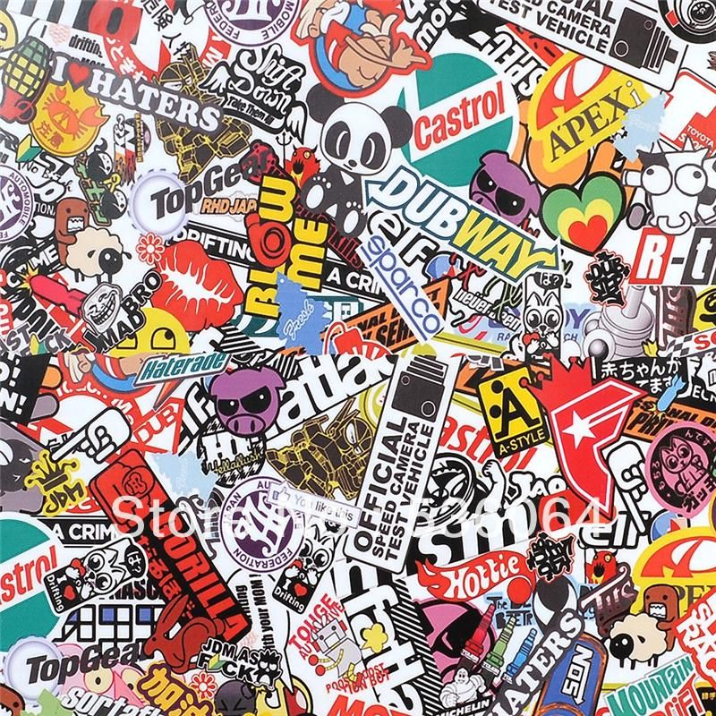 Pvc sticker bomb scrawl graffiti wrap sheet decal fit for car motorcycle laptop waterproof decor new