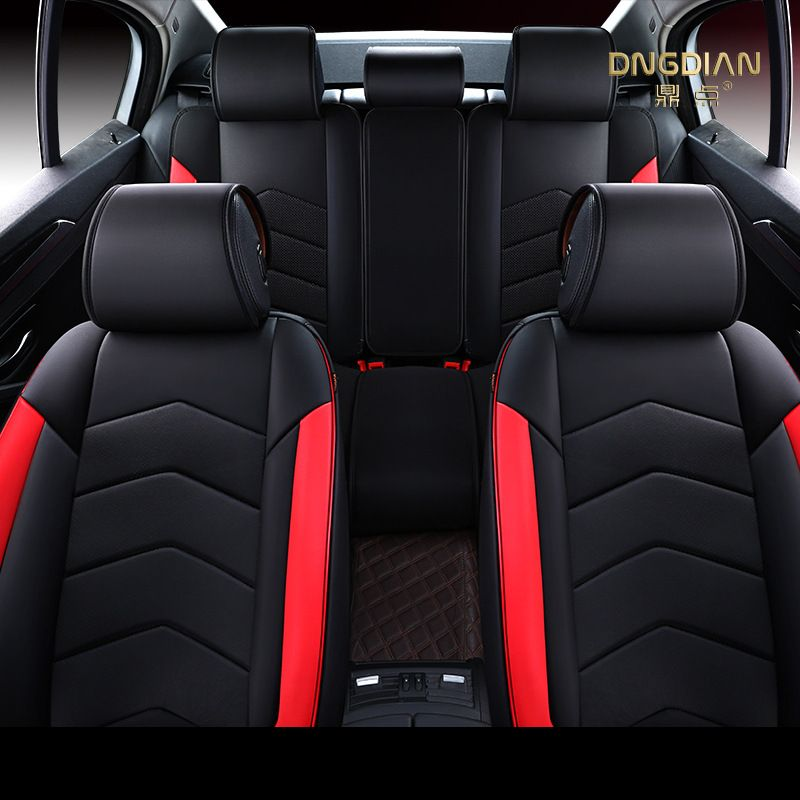 Full Set Luxury RED//BLACK Leather Look Car Seat Covers Toyota Avensis