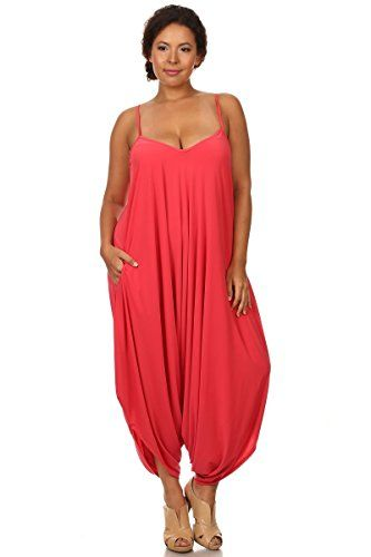 ceca59cc10fe CANARI Womens Plus Size Spaghetti Strap Loose Fit Harem Jumper Overall Coral  3X   To view further for this item