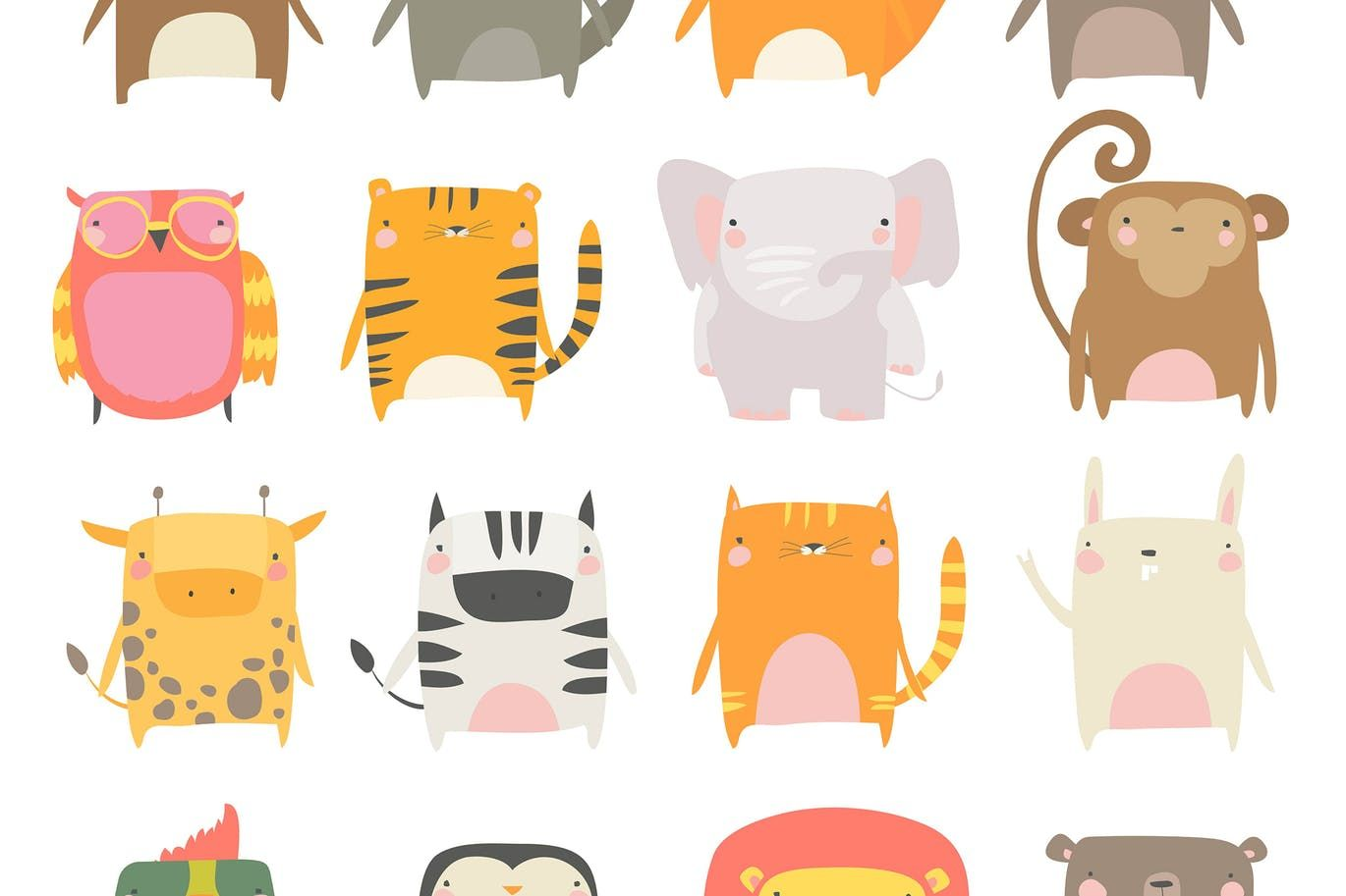 Vector Set Of Cute Animals White Background By Masastarus On Envato Elements Cute Animals Vector Illustration Drawing For Kids